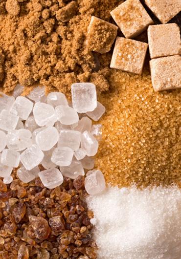 Various kinds of sugar closeup background
